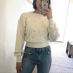 Vintage Meister Star Appliqué Ivory Sweater S